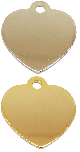 SMALL Polished Heart Nickel or Gold Plated DOUBLE-sided