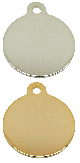 Polished circle with tab nickel gold plated