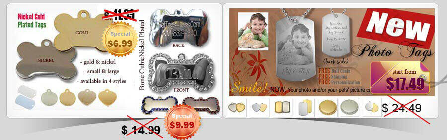 nickel gold plated pet tags and photo tags