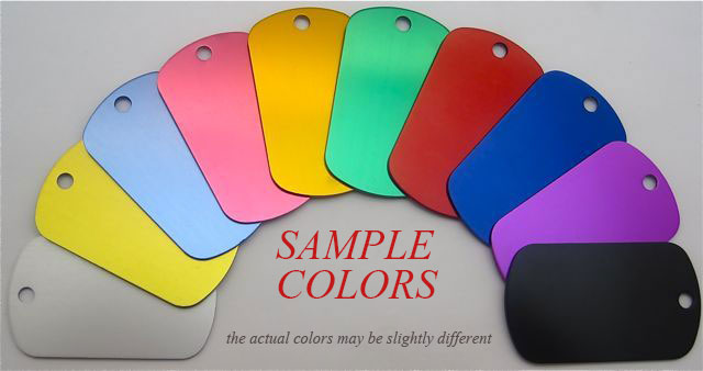 sample colors anodized aluminum tags